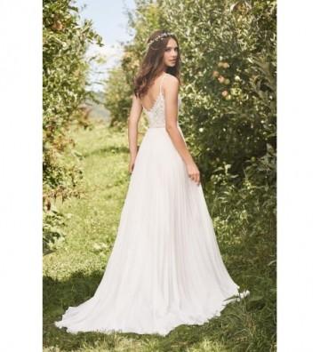 Φόρεμα σε γραμμή-Α με δαντέλα και πλισέ φούστα ακορντεόν από σιφόν