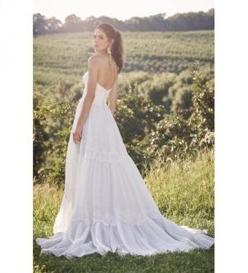Λινό φόρεμα στράπλες σε γραμμή-Α και φούστα τύπου Gypsy με επένδυση από δαντέλα