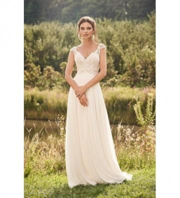 Φόρεμα με φούστα Chiffon σε γραμμή-Α με αυτοκρατορική μέση και κοντά μανίκια