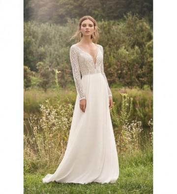 Βαμβακερό φόρεμα σε γραμμή-Α -με δαντέλα- και φούστα σιφόν με πιέτες