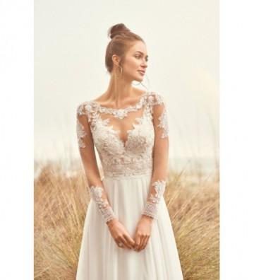 Φόρεμα από σιφόν σε γραμμή A με διάφανο μπούστο και δαντέλα