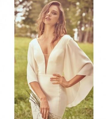Εφαρμοστό φόρεμα από κρεπ που φαρδαίνει κάτω με λεπτομέρεια με λεπτή ζώνη
