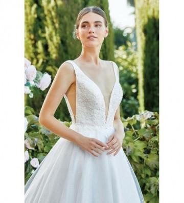 Φουσκωτό φόρεμα από αστραφτερό τούλι και διάφανο ντεκολτέ