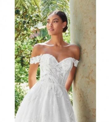 Φουσκωτό φόρεμα κεντημένο με χάντρες και αφαιρούμενες τιράντες στους ώμους
