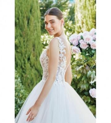 Φουσκωτό φόρεμα με διάφανο μπούστο από δαντέλα κεντημένη με χάντρες και φούστα από ακατάστατα τούλια