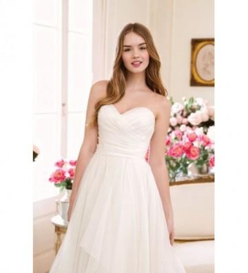 Sweetheart Asymmetric Pleated Organza A-Line Gown