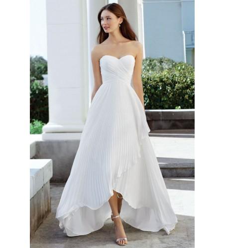 Ασύμμετρο φόρεμα από σιφόν, με πιέτες ακορντεόν